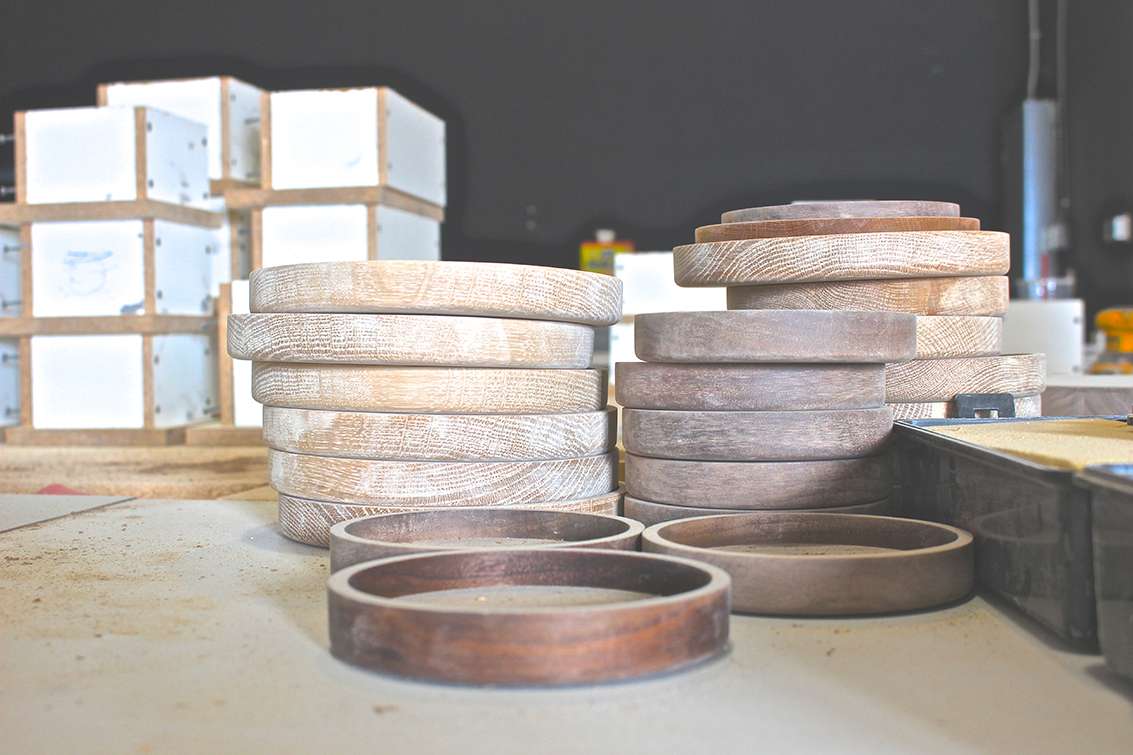 Beautiful hardwood storage plates ready to be hand-finished with three coats of wax for durability.