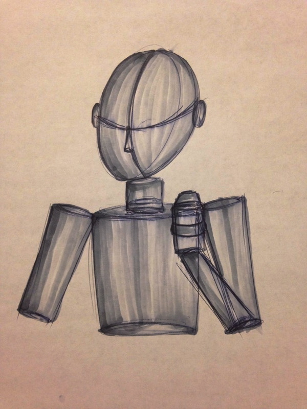Man In Basic Shapes (Grey Markers)