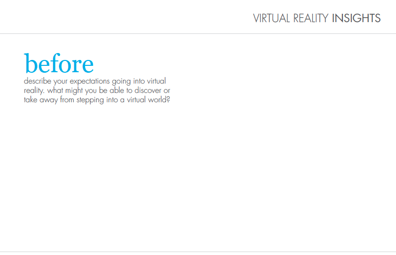Virtual Reality Experience Reflection Card: Before
