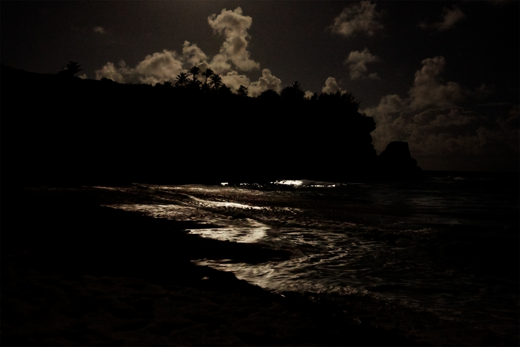 Full moon reflecting on the waves