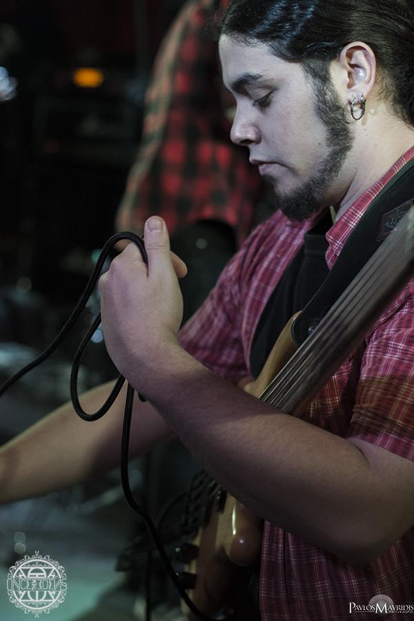 George Constantinou, setting up his fretless bass.