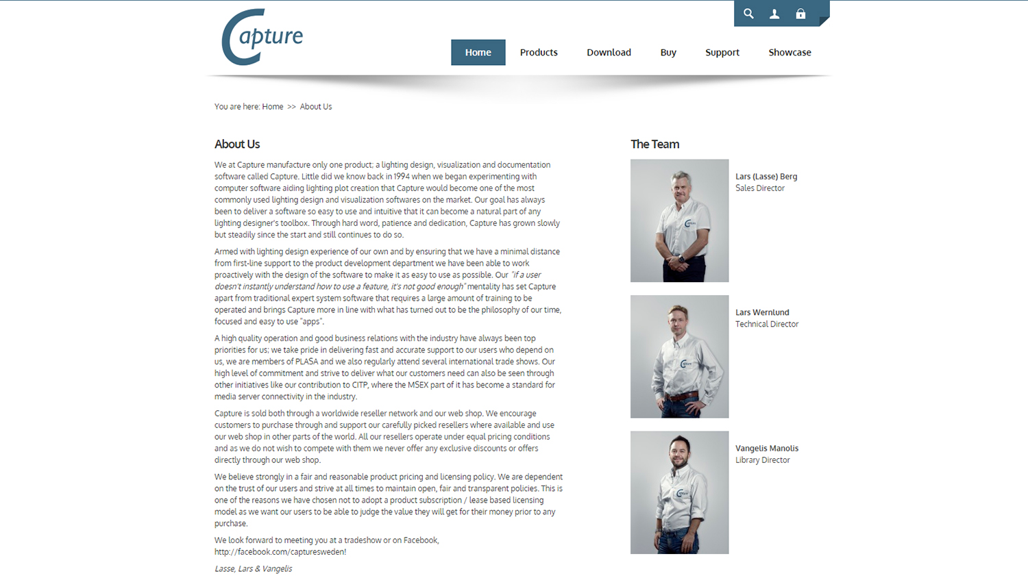 """The """"About"""" page of Capture website"""