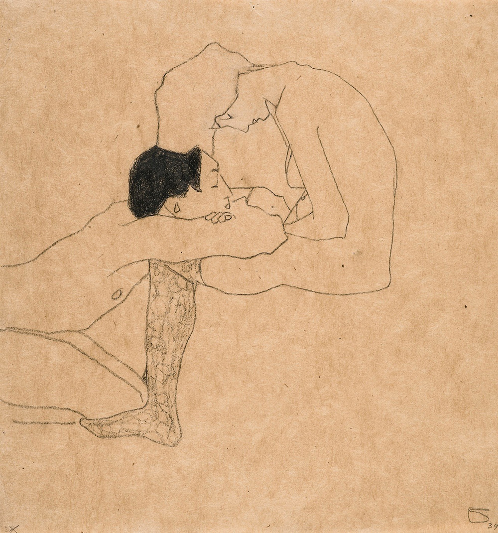 """""""The Lovers"""" by by  E gon Schiele"""