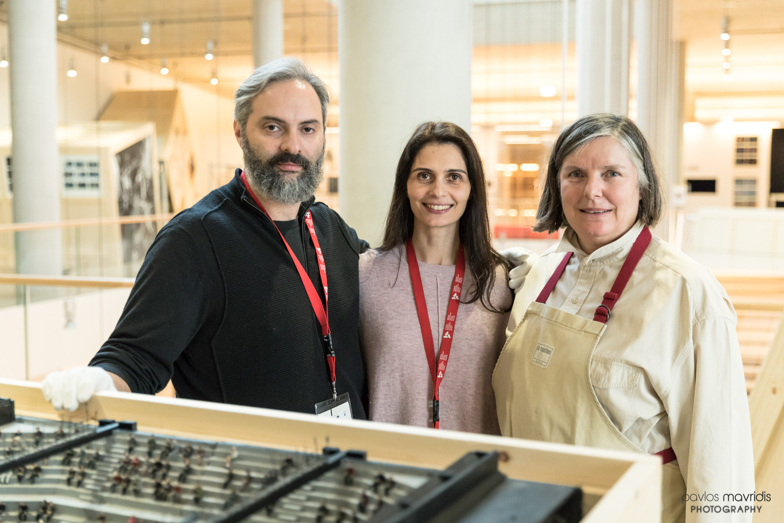 From left to right: Adonis Volanakis (Curator), Valentina Tamiolaki (Lighting Designer) and Maria Alexiou (Prints and Drawings Paper Conservator MIET)