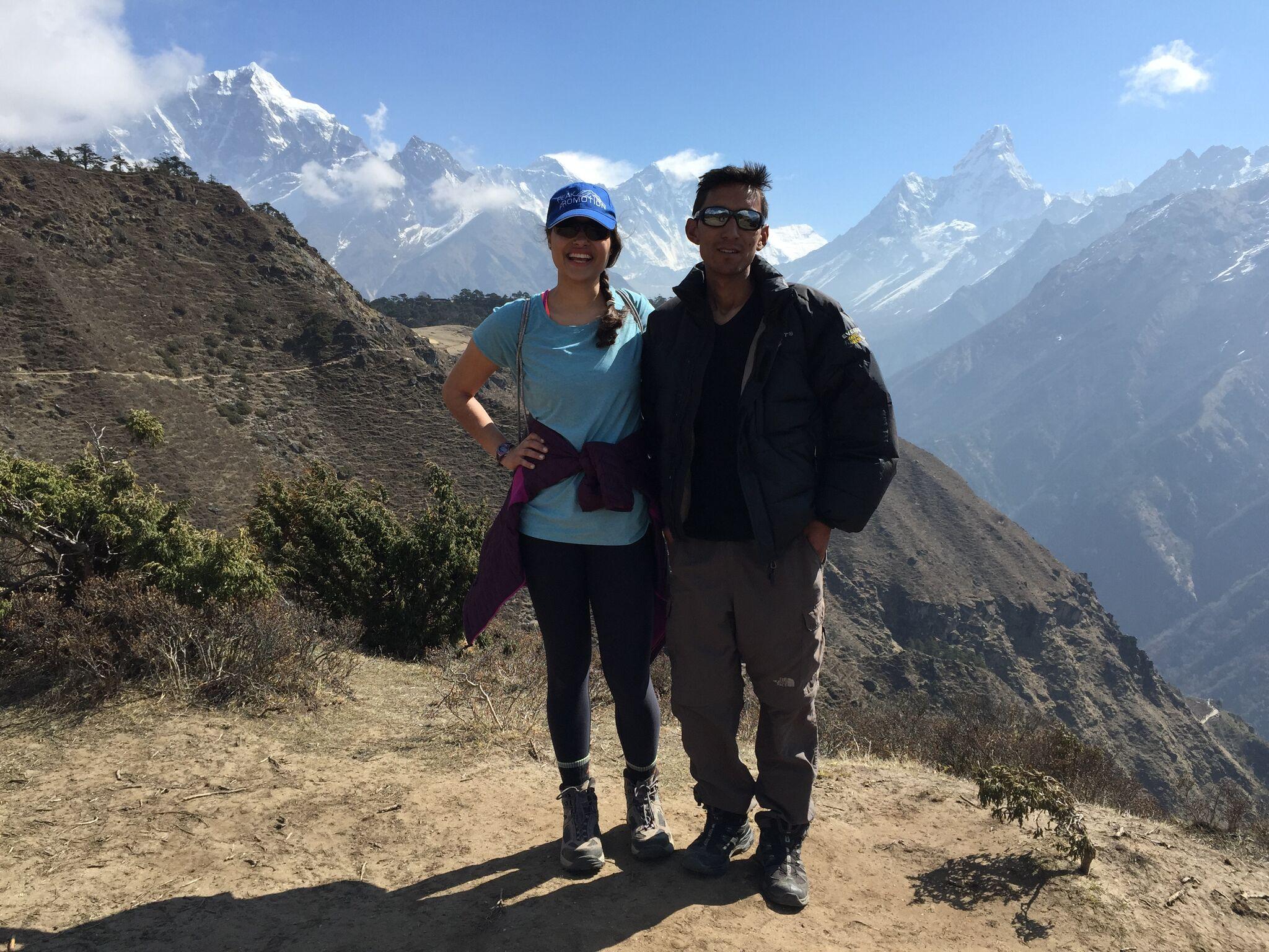 Svati and her guide Nawa on trek up.jpg