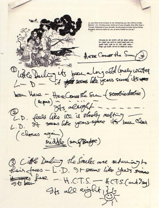 Hand written lyrics to 'Here Comes the Sun'