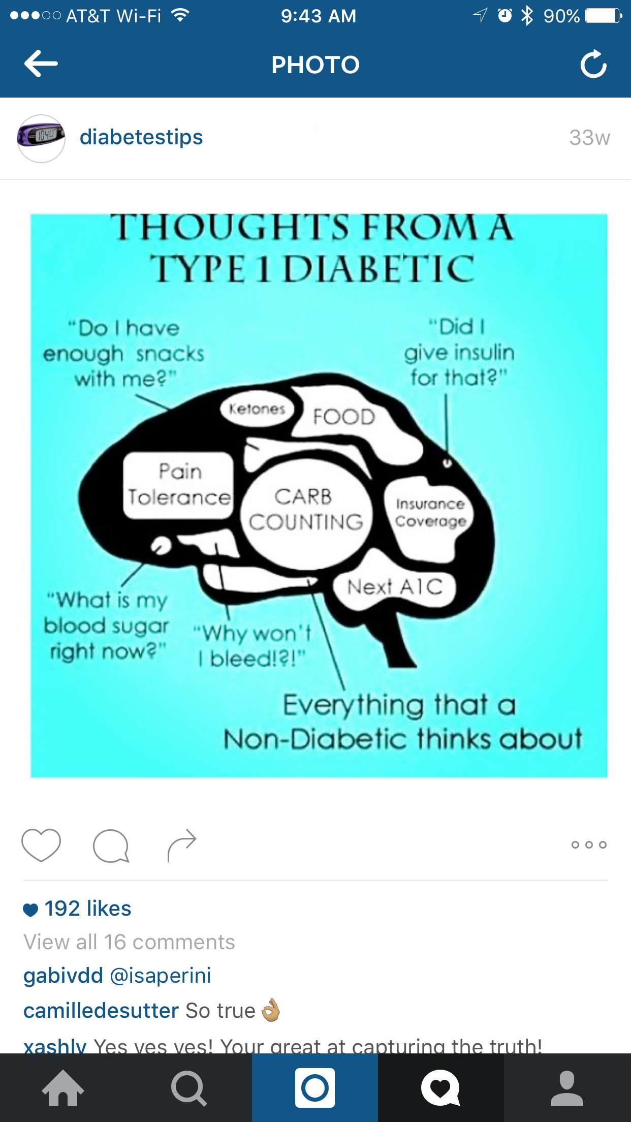 Jenna is in Instagram @DiabetesTips - Search in your app or click on this image to check her out and follow.