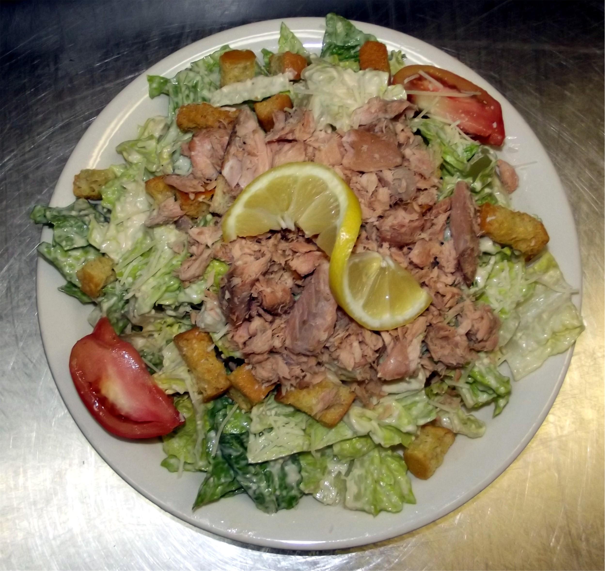Caesar Salad topped with Smoked Salmon