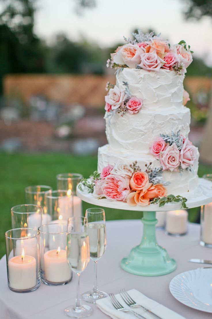 Love this cake! And that cake stand, swoon! That's a great DIY - paint a dollar store candle stick and glue to an old vintage plate. Easy, and you could totally use it again to serve cake or cupcakes as a newlywed!