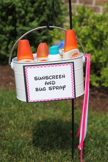 If the festivities are outside, don't forget a little sunscreen, bug spray station.  Your guests will be ever grateful.