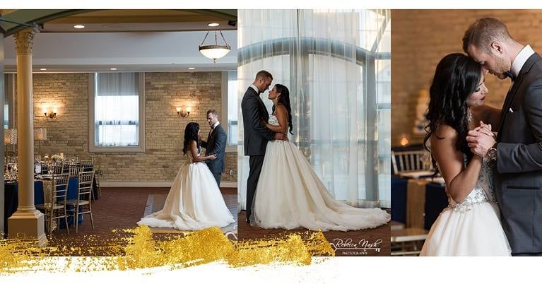Photographs by Rebecca Nash Photography. Gowns by Once Upon A Time Weddings and tuxedo by Bud Gowan Formal Wear available at Once Upon A Time Weddings.