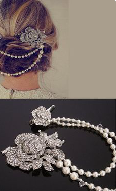 We love this unique, up-do bling.We carry similar hair accessories here!