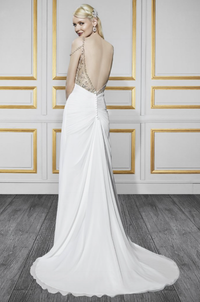 Super excited to get this chiffon gown with beaded straps in to the store!