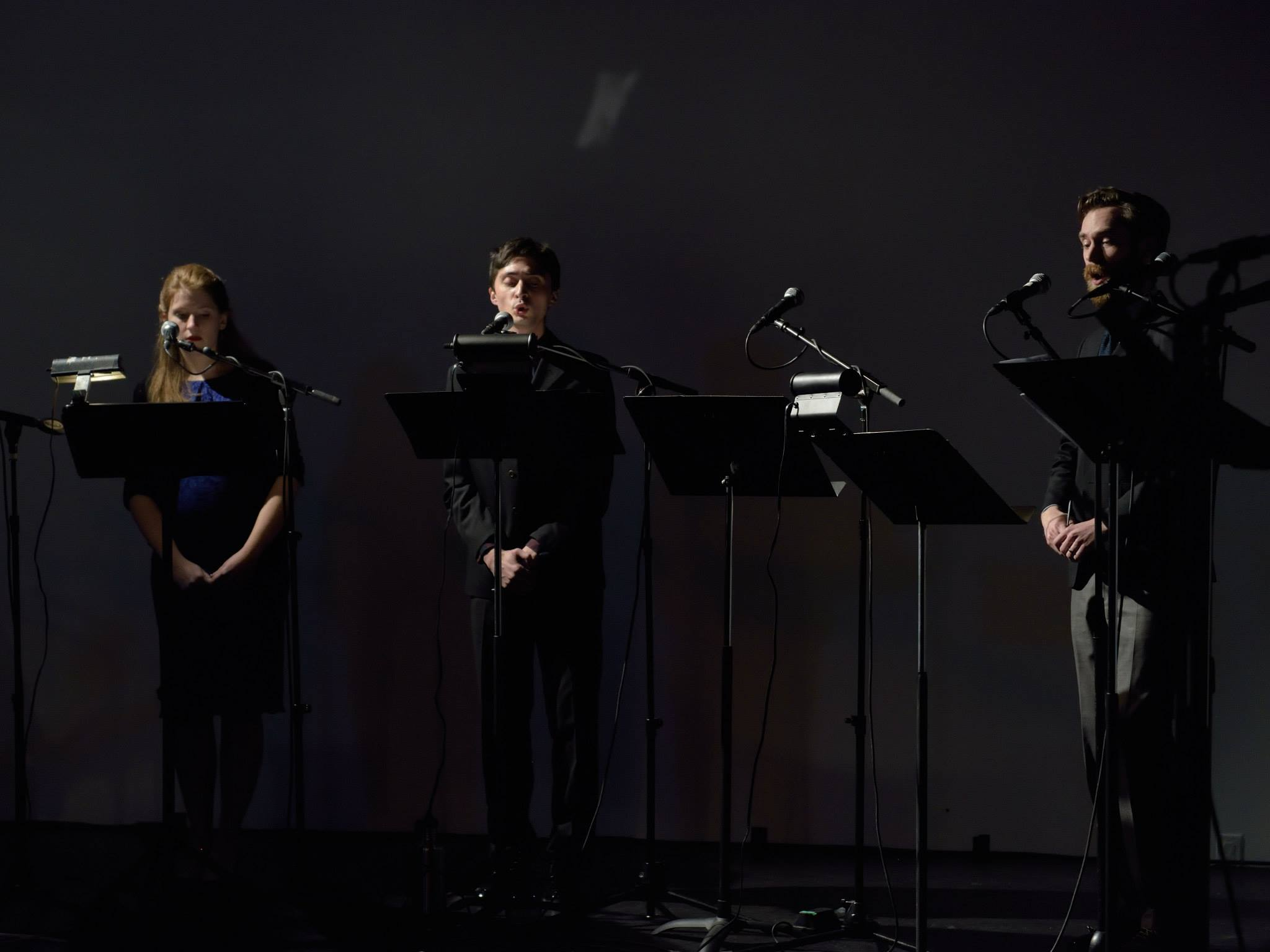 singing Cage's  Four Solos for Voice with fellow Ekmeles members Elisa Sutherland and Jeff Gavett; February, 2015