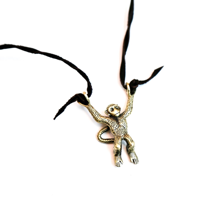 Brass ape Monkey handcast pendant necklace