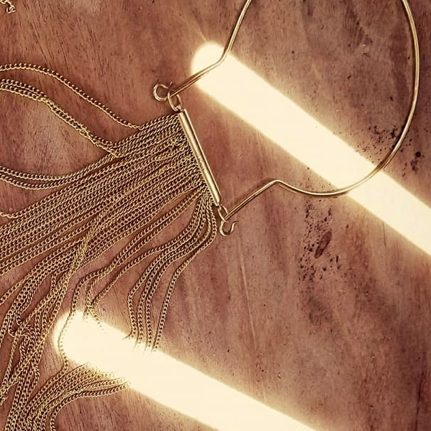 Brass chain long fringe Angel hair collar necklace