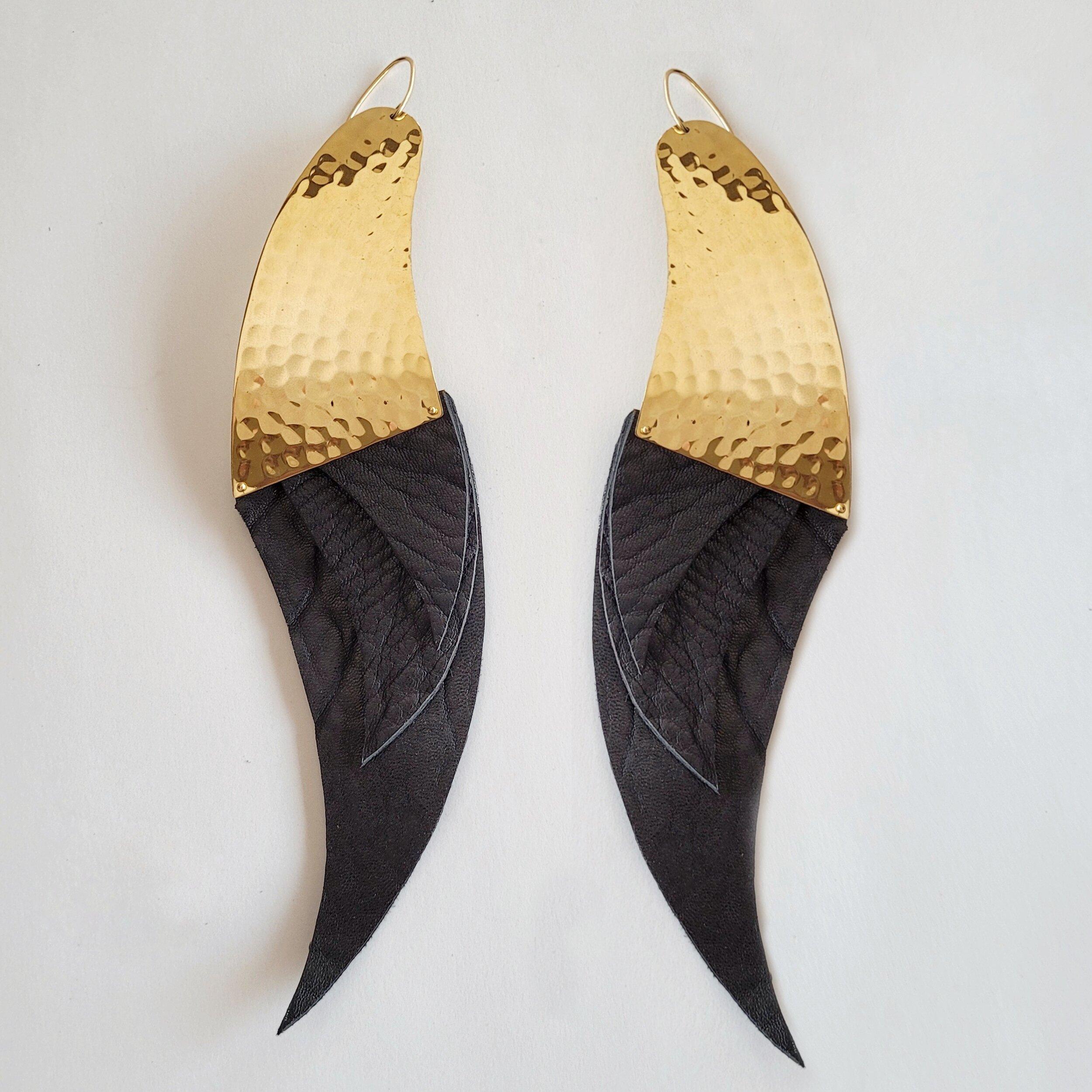 Long leather brass handmade XL starling earrings