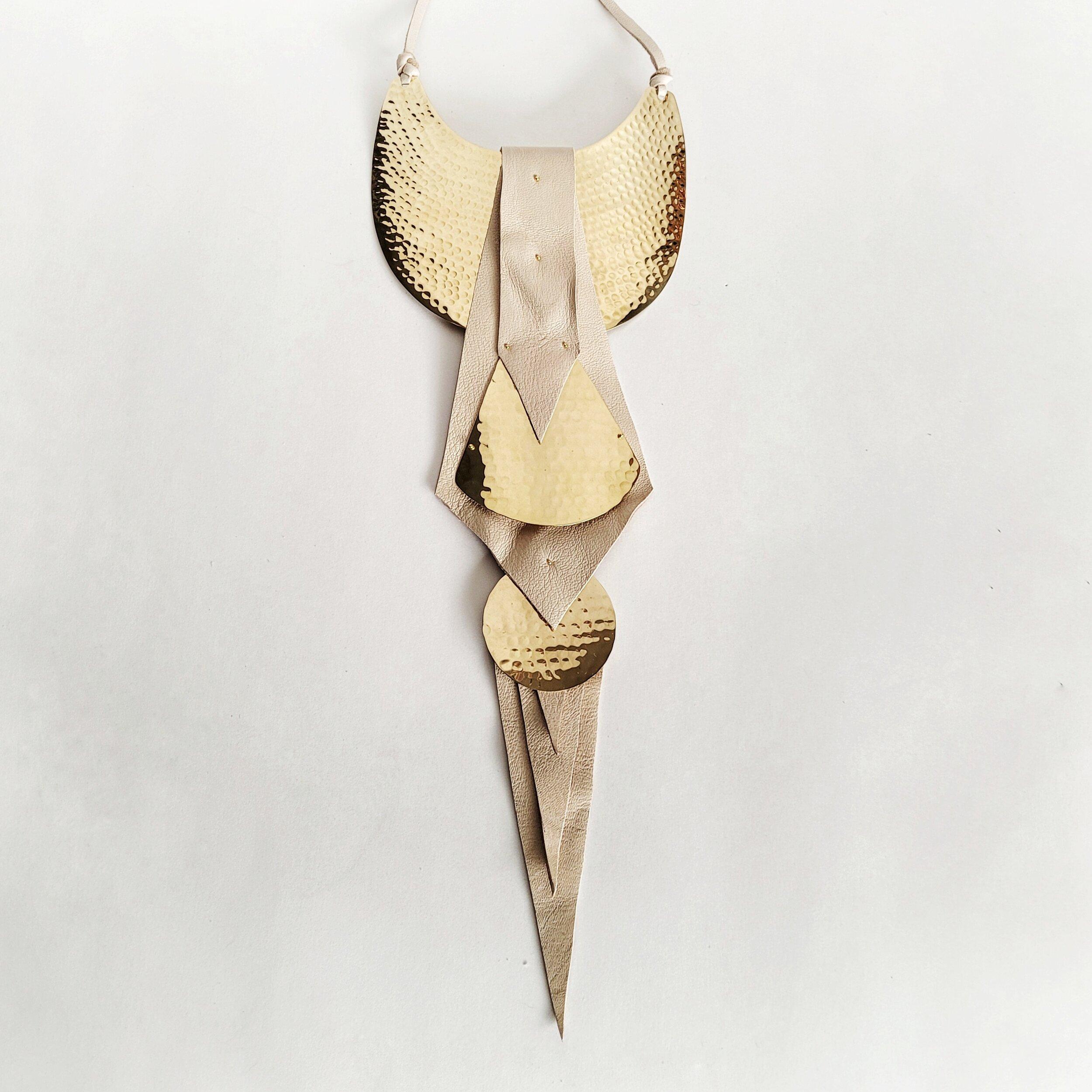 Hammered brass leather statement Plunge collar necklace