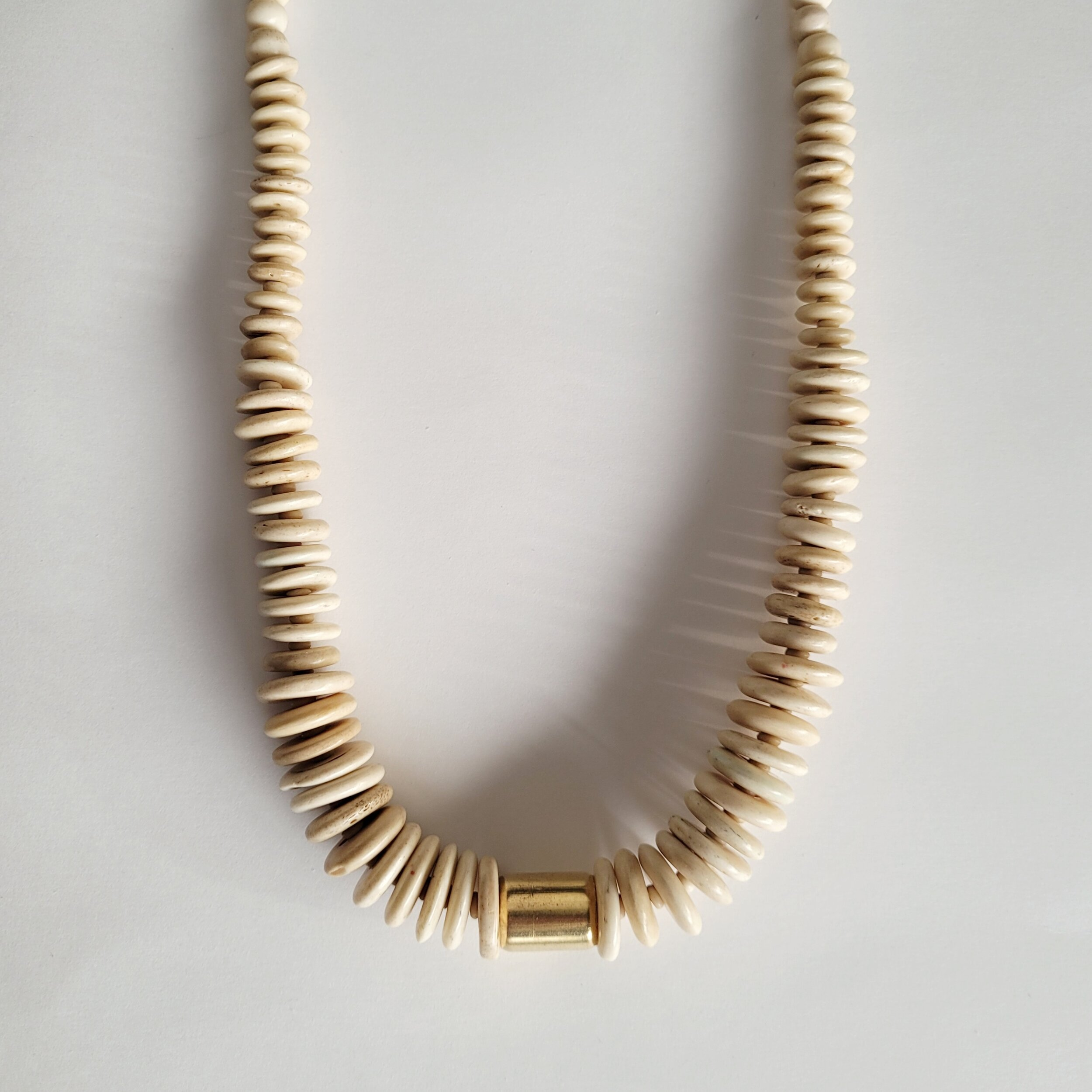 Bone brass leather handcrafted Osso collar necklace