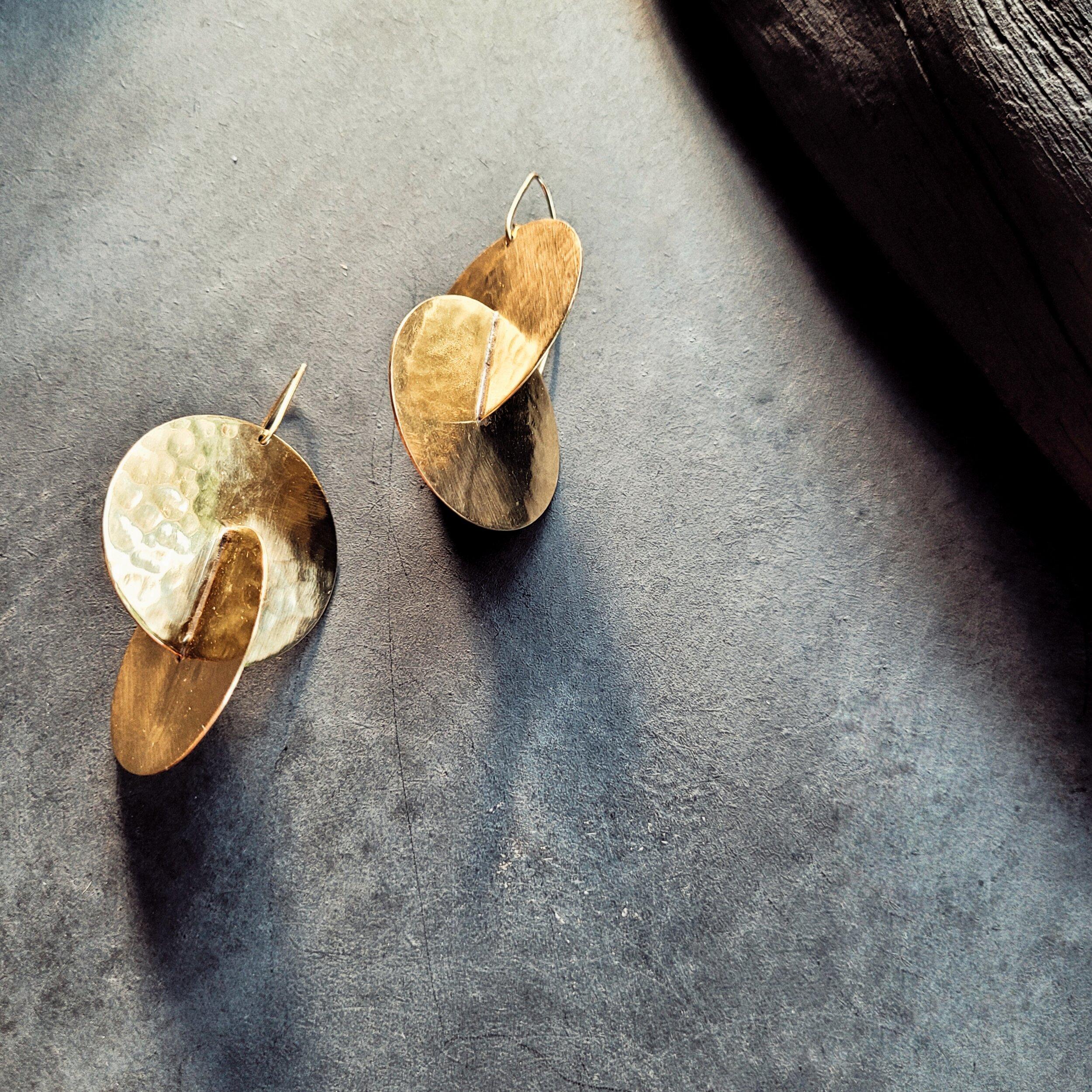 Brass handmade hammered intersecting disc hoop dangle earrings designer
