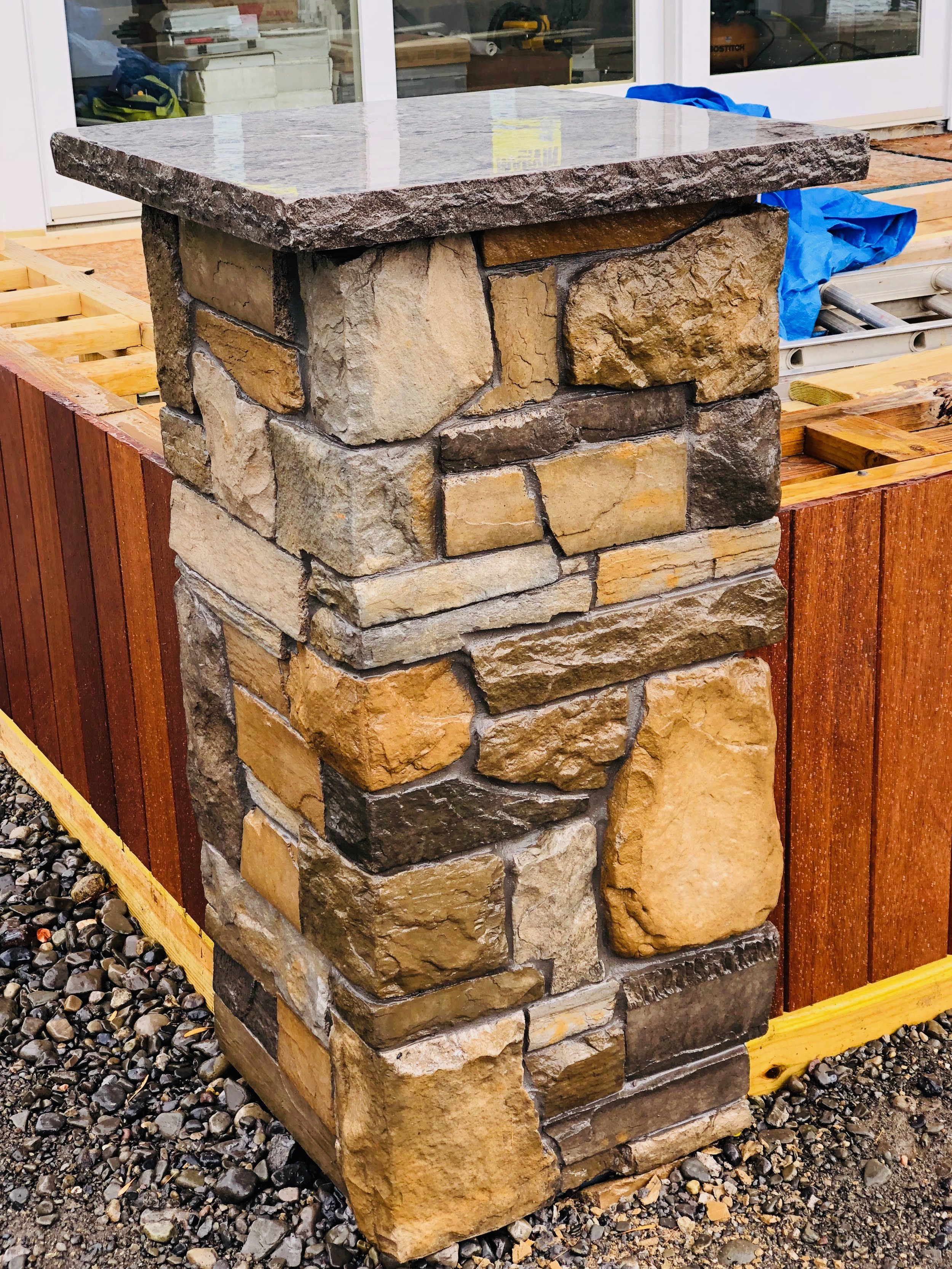 Stone veneer pillar in Lansing NY