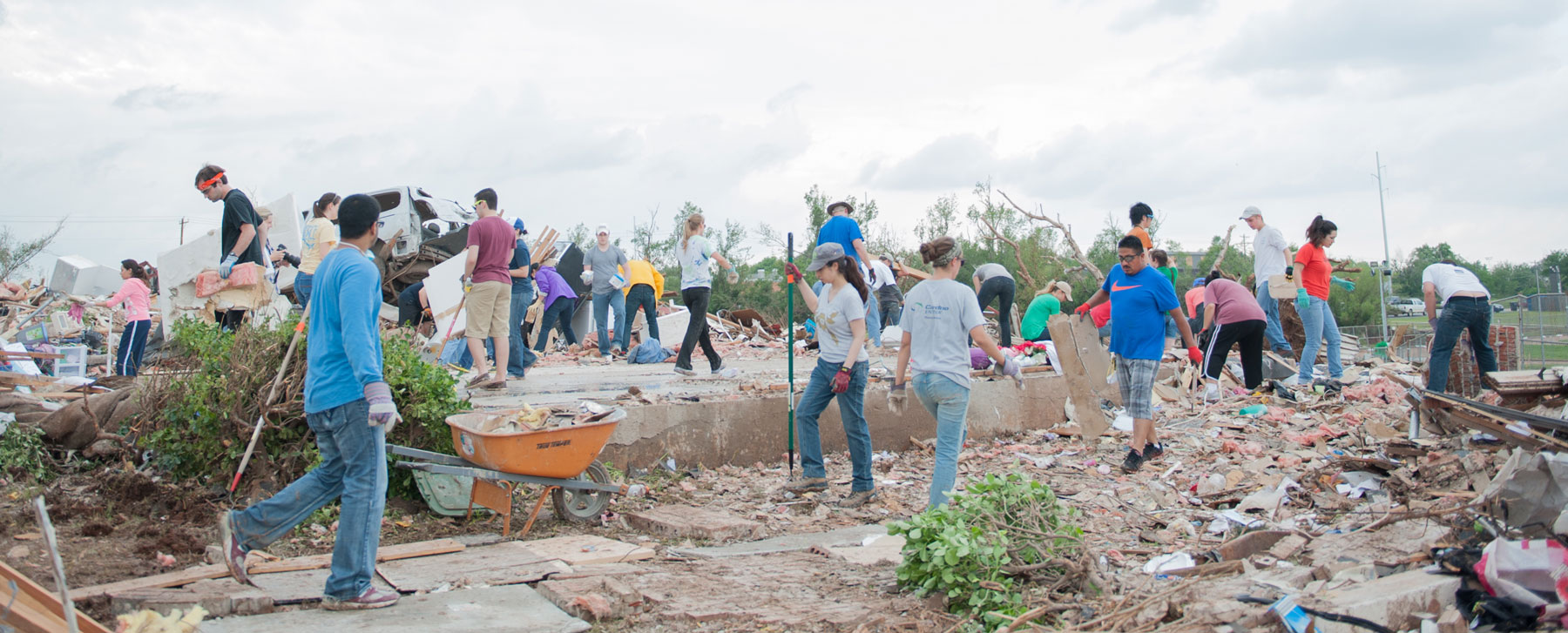 Volunteers serve families after the May 2013 Moore/OKC Tornado