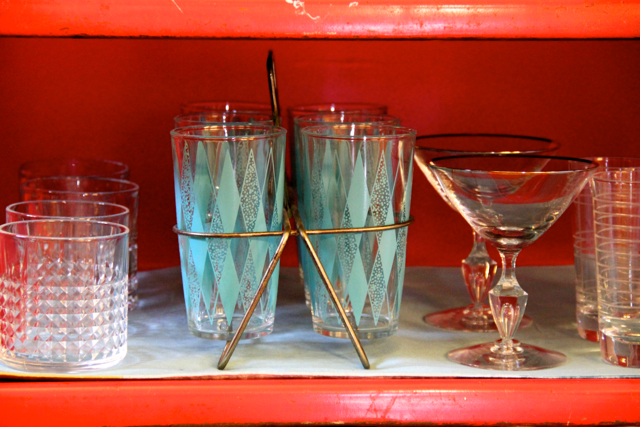 The glasses were sourced from antique stores and Goodwill, an amazing source for affordable, good quality glasses!