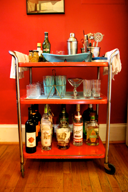 There you have it- a complete vintage bar cart, ready to wheel into any party!