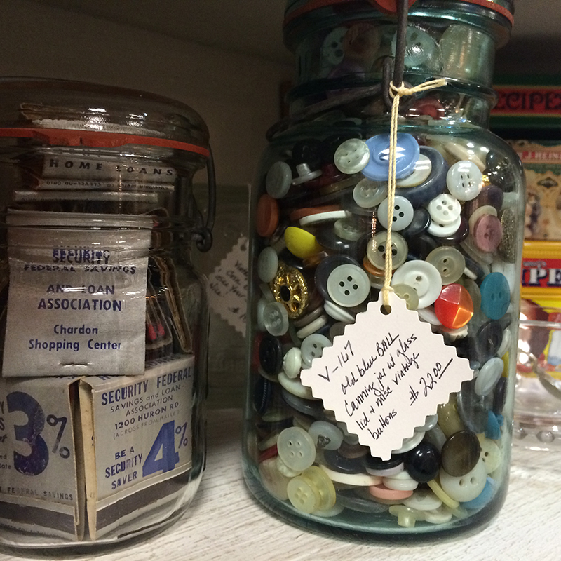 If I was a hoarder [not saying I'm not on my way...] I would be entirely organized like this and have collections of matchsticks and buttons in cute jars. But $22 for BUTTONS?!