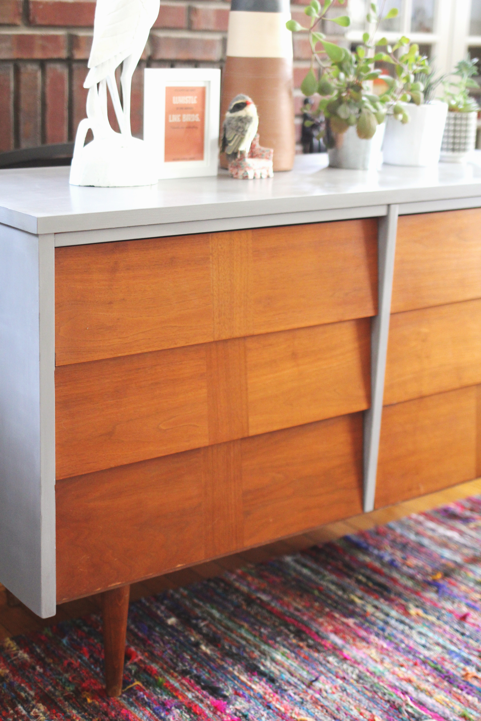 Clean Modern Lines Mid Century Dresser Painted In Gray