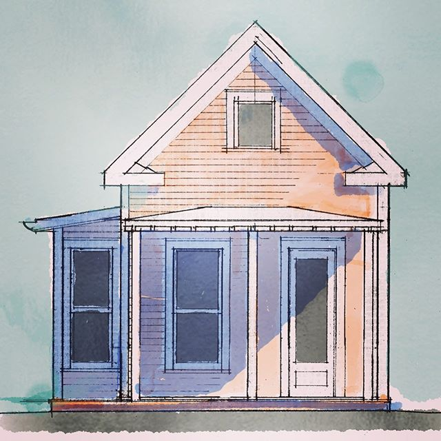 Playing around with digital coloring over hand draughting. Cabbagetown cottages coming to life, but slowly.