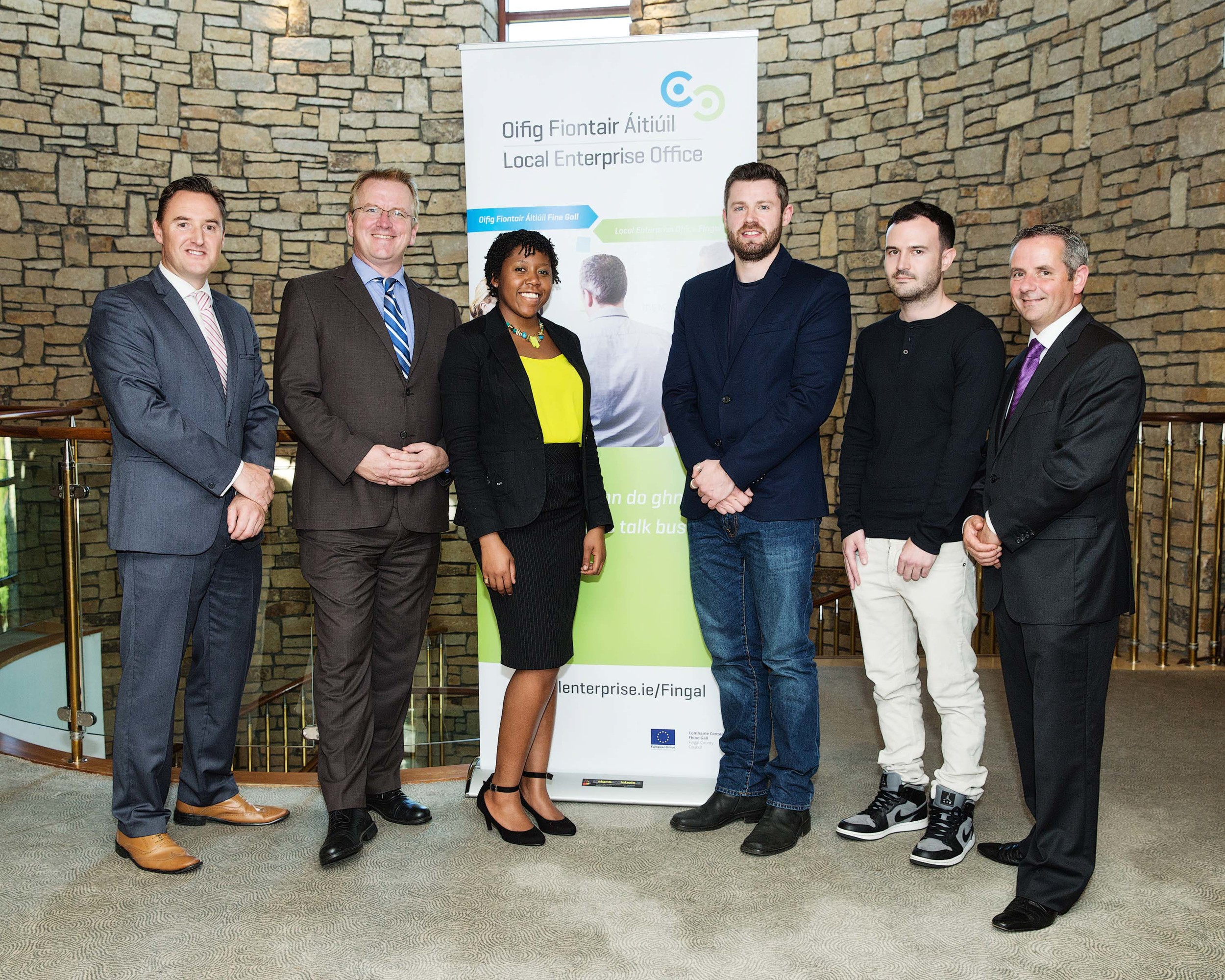 Keith Brock (Fingal Local Enterprise Office), Oisin Geoghegan (Head of Fingal Local Enterprise Office), Claudia Samantha Devereaux (IBYE Finalist), John Havel (IBYE Finalist), Mark Sheils (IBYE Finalist) and Paul Reid (Chief Executive, Fingal County Council)