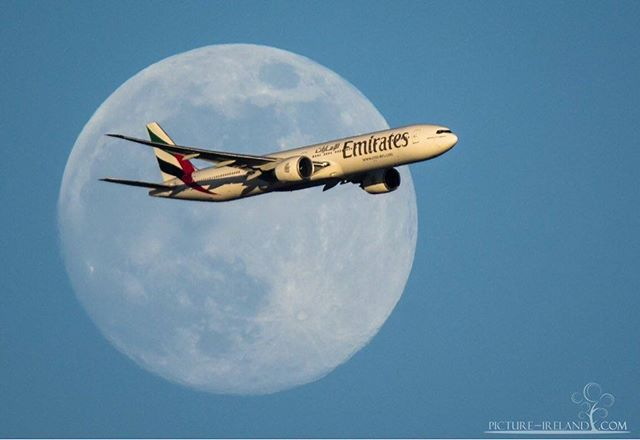 Featured Photo: Fly me to the moon! Emirates plane flying into Dublin yesterday evening taken by @mark_picture_ireland.  Follow our page to see more amazing pictures of Ireland. -------------------------------------------------------------------------- Use the #pictureireland hashtag to share your best photos and to be in with a chance to be featured on our Instagram and our website community page: www.picture-ireland.com/community  #pictureireland #fineart #landscape #photography #ireland #inspireland_ #loveireland #igersireland #insta_ireland #instaireland #irish #photograph #discoverireland #emeraldisle #Dublin #coast #emirates #plane #fly #moon #sky #holidays #Irish #travel #tourismireland #discoverireland