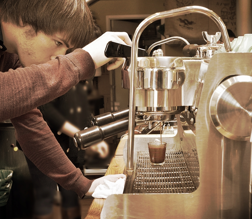 testing espresso shots throughout the day