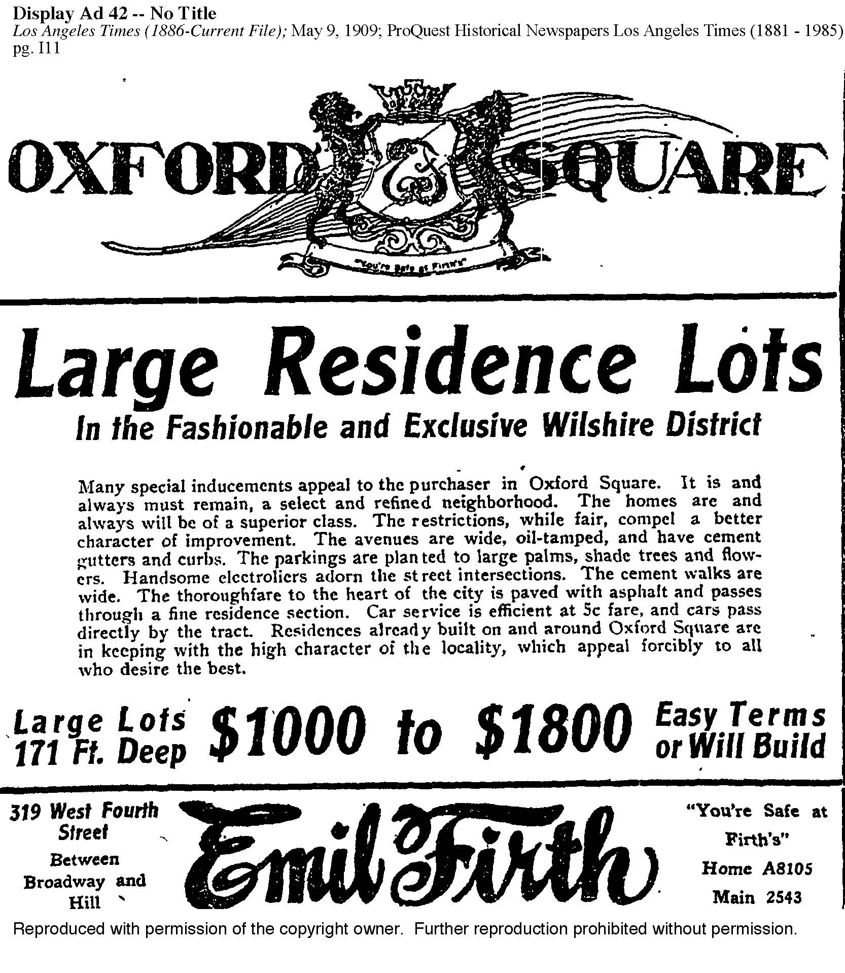 ADVERTISEMENT FOR OXFORD SQUARE, Los Angeles Times May 9, 1909.