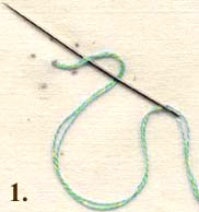 Come up through the dot, from the back side. Wrap the floss around the needle as shown.