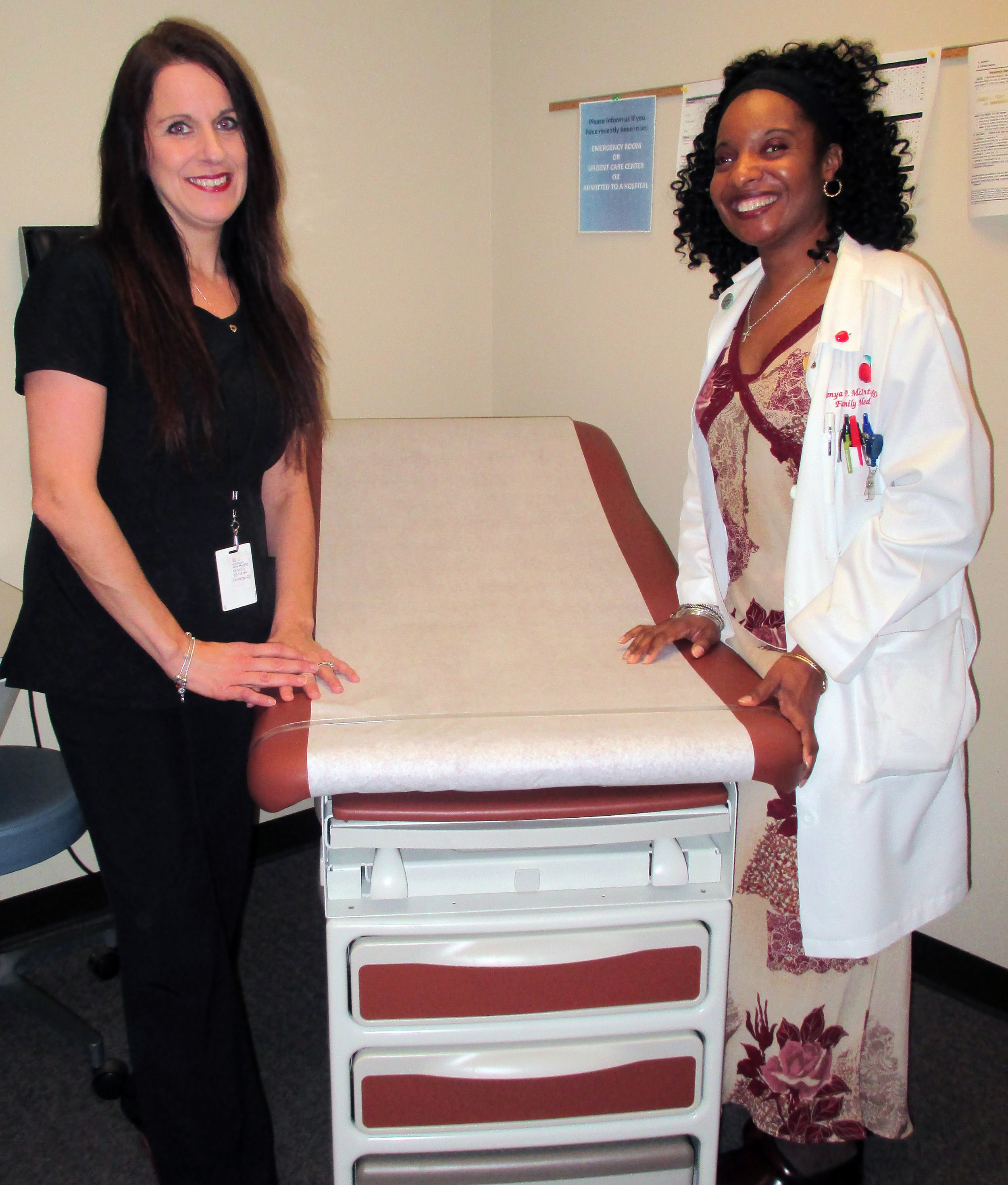 New exam table provided by the Norman and Charlotte Tooley Benevolent Fund, First Presbyterian Church, Brockport, NY