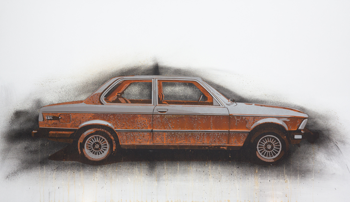 "BMW 3 Series  2013 Rust, charcoal and enamel paint on steel panel. 28""x48"""