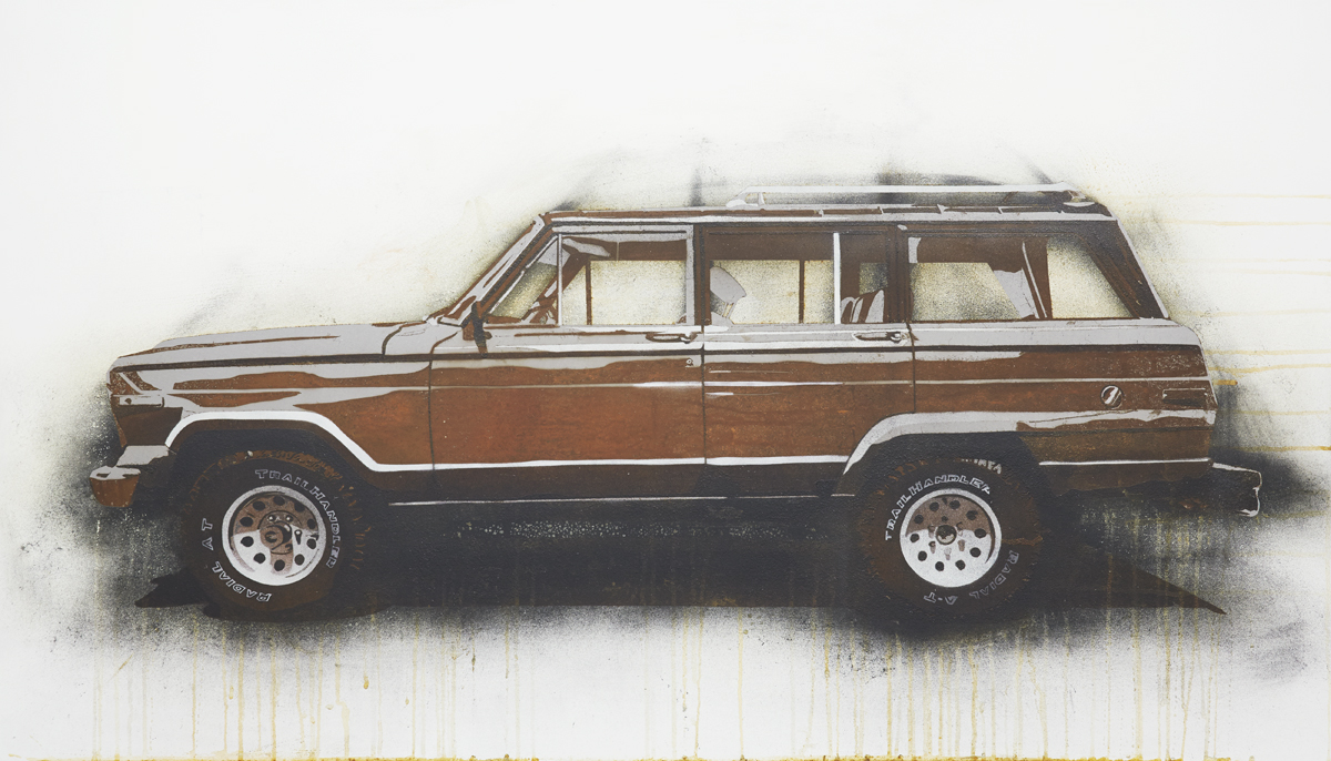 "Wagoneer  2013 Rust, charcoal and enamel paint on steel panel. 28""x48"""
