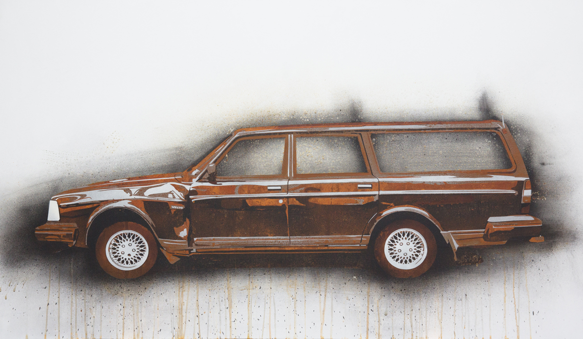 "Volvo 240 Wagon  2013 Rust, charcoal and enamel paint on steel panel. 28""x48"""