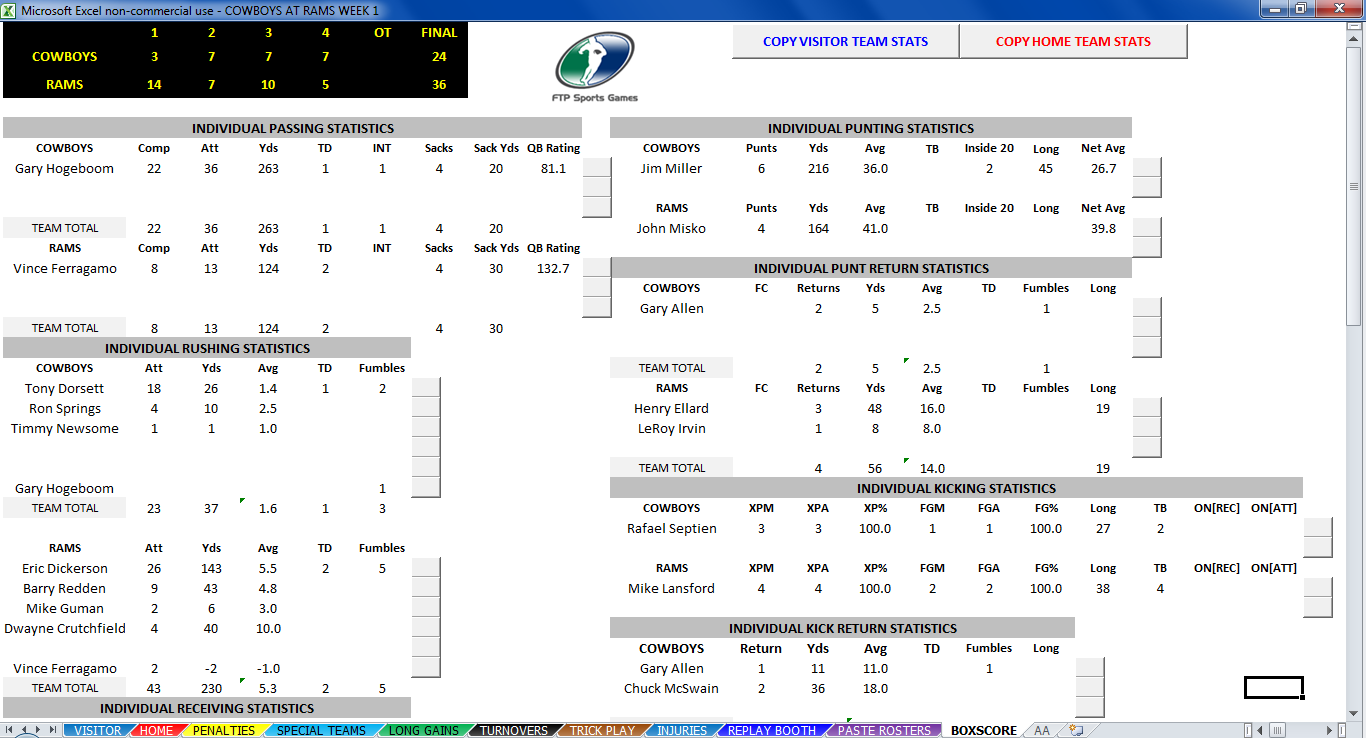 SIDELINE FOOTBALL Computer Game Center Statistics Page Screenshot