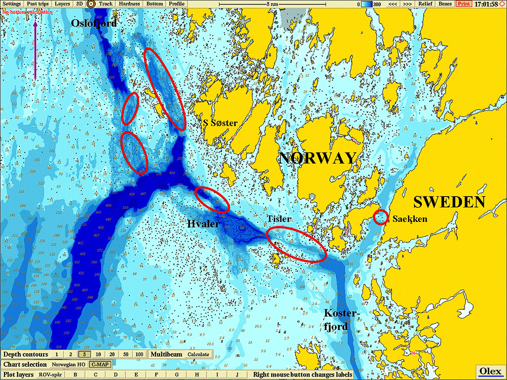 The Norwegian and Swedish archipelagos with the bathymetry of the deep Koster Trough visible and cold-water coral reefs marked out by red circles