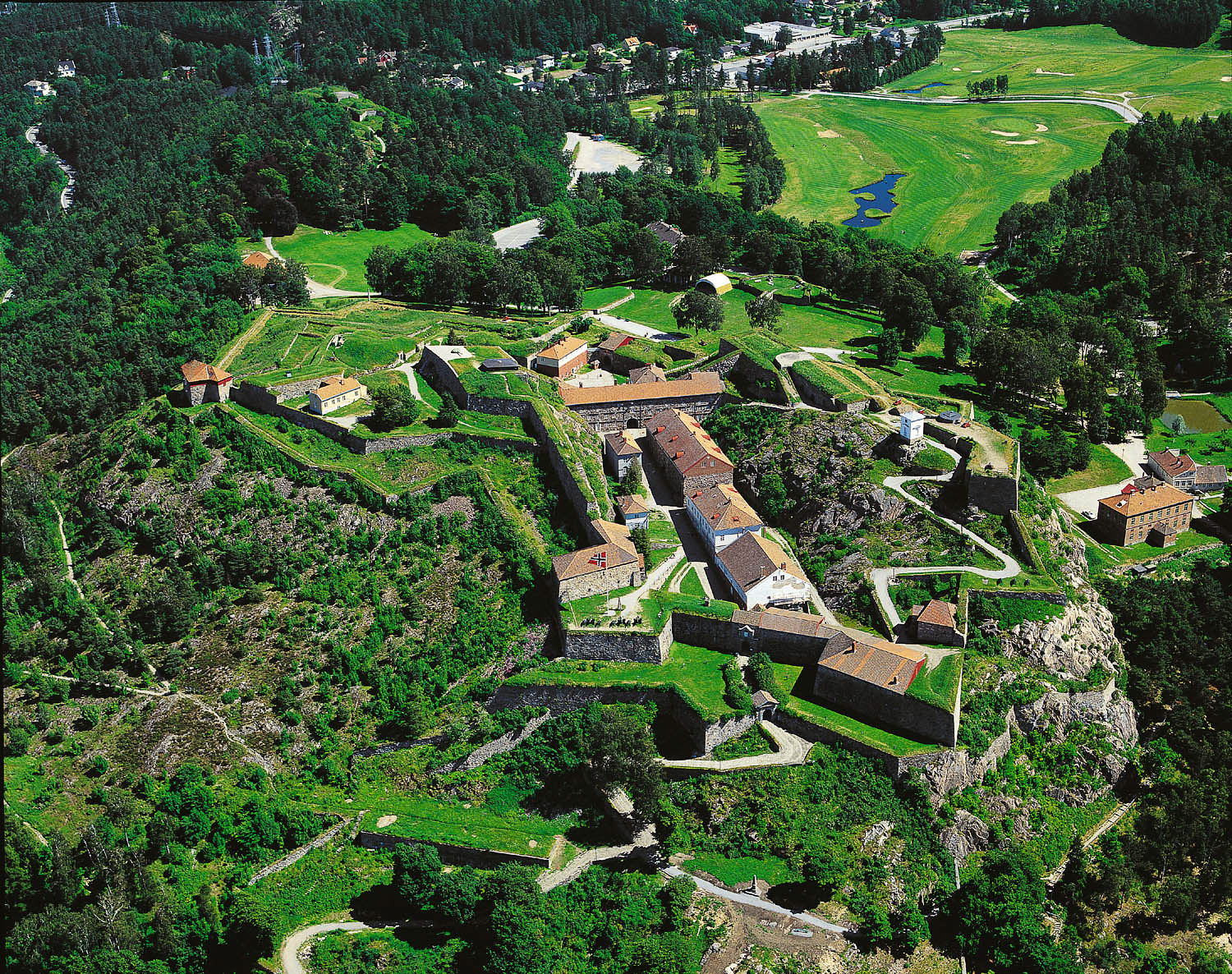 Fredriksten Fortress is situated at the south-east tip of Norway, close to the border with Sweden, and it commands an elevated position above the town of Halden.  This photo: Nasjonale Festningsverk
