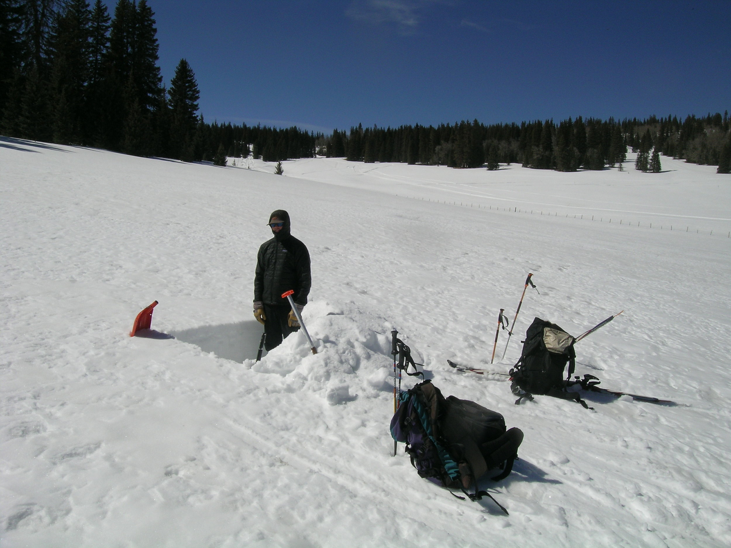 Andrew Temple in the snow pit at Spring Creek Pass CODOS Site, March 17, 2012