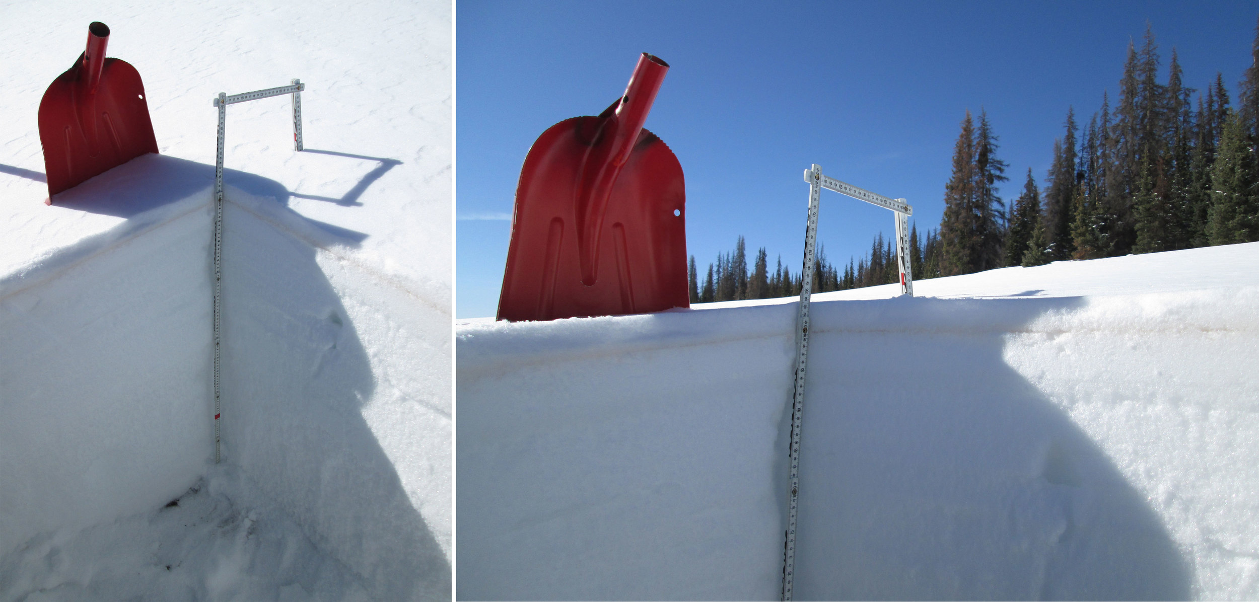 "The March 29 snow profile at the Spring Creek Pass CODOS site.  Dust layer D3-WY2014 is clearly visible in a thin band 1-2"" below the snow surface, within a melt-freeze (polycrystal) crust.  Dust layer D4 (March 30) fell onto the clean snow surface seen in this profile, significantly reducing snow albedo until fresh snowfall beginning today (April 2) and began to bury D4.  Once re-exposed, radiative forcing in layer D4 will need to melt very little underlying SWE before merging with layer D3, reducing snow albedo even further."