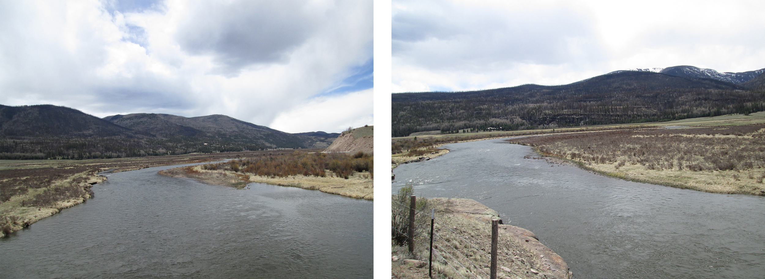 Looking upstream (left) and downstream (right) at near bank-full flows.   Most, but not all gravel bars are covered.