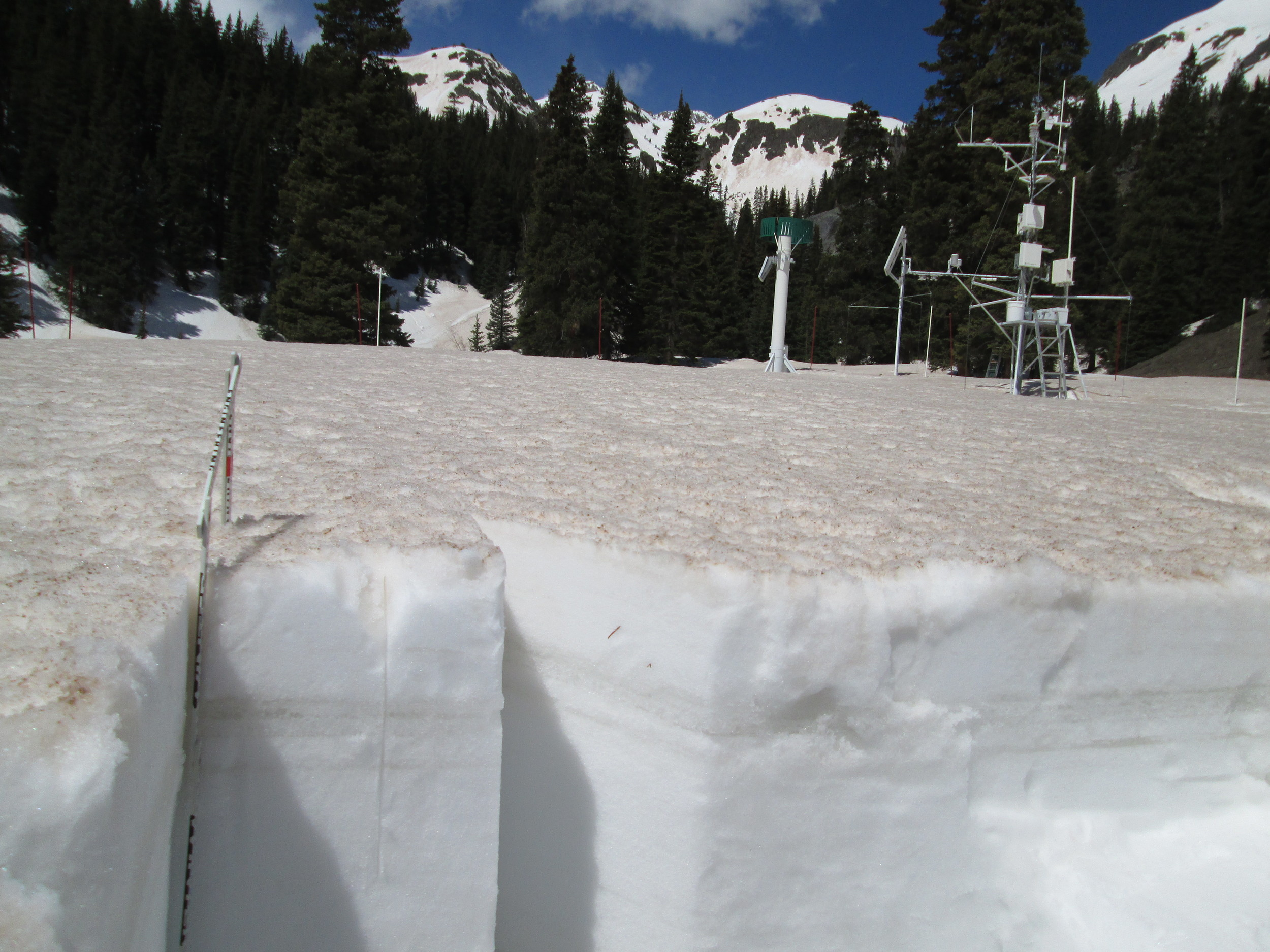 Albedo (broad band) at Swamp Angel Study Plot was 0.42 (42% reflectance) at mid-day on May 21; albedo values fell as low as 0.35 during the spring of 2013, with considerably more dust mass in the snowpack.