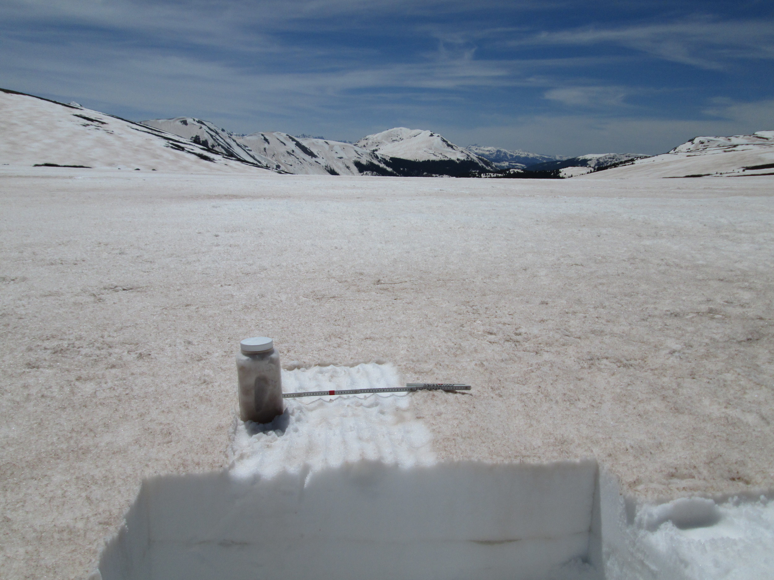 """Snowcover was still extensive on the tundra surrounding Independence Pass, here 24"""" deep. Dust deposition in such alpine terrain exhibits significant spatial variability resulting from wind effects on new snow containing dust., alternately stripping and concentrating dust (and wind-blown snow) in 'dune' fields. A typical dune pattern can be seen on the slope on the left, in the distance. An 'all layers merged' (ALM) sample was collected in a patch of somewhat higher concentration of dust (than seen just a few yard in the distance), since our purpose with these ALM samples is to facilitate analyses of the dust's properties rather than to capture a definitive dust mass loading sample. Representative mass loading samples require a well-sheltered site, such as our own Swamp Angel Study Plot at Senator Beck Basin, where wind effects are minimized."""