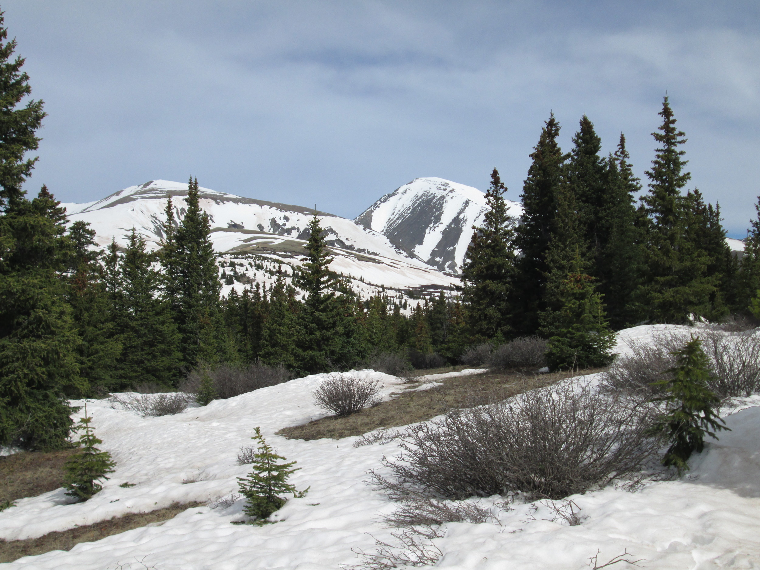 The usual view of Quandary Peak in the distance, as seen from the Hoosier Pass CODOS site, showing the Memorial Day weekend storm clean snow still obscuring most dust.