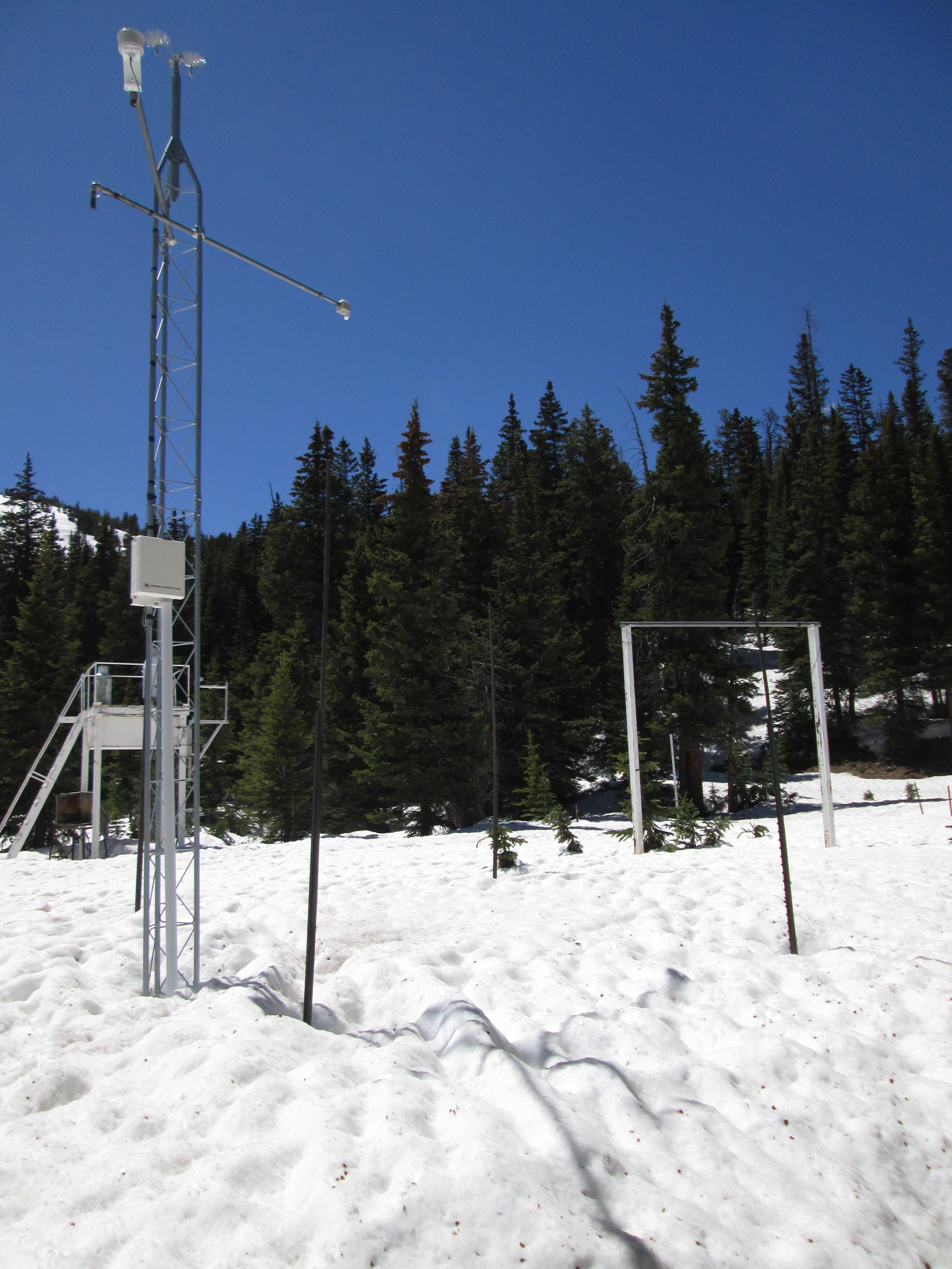 """Among the ten Snotel stations proximal to our CODOS sites, nine are partially or heavily shaded by surrounding trees. The Berthoud Summit Snotel, on the other hand, is uniquely located in an open meadow with nearly complete exposure to direct solar radiation from the east, south, and west. As a result, Berthoud Summit Snotel SWE and snow depth data reflect the full impact of dust-on-snow on snow albedo and, therefore, on snowmelt rates. The snow pillow measuring SWE is directly beneath the snow depth sensor positioned at the end of the arm extending northward (away from viewer) from the top of the instrument mast. During the sunny period leading up to the June 3 site visit, snowmelt rates rose only slowly from 0.5-1.0"""" SWE loss per day, with clean snow from the Memorial Day weekend storm still at the snowpack surface and maintaining a comparatively high snow albedo. SWE loss was 1.4"""" on the day of the site visit, with dust by then widely exposed and snow albedo substantially reduced. Since then, snowmelt rates rose further to 1.8-2.0""""/day as merged dust layers D3-8 further consolidated in the snow surface. As of this writing on Monday, June 9, more than half of the snowcover observed on June 3 has melted."""